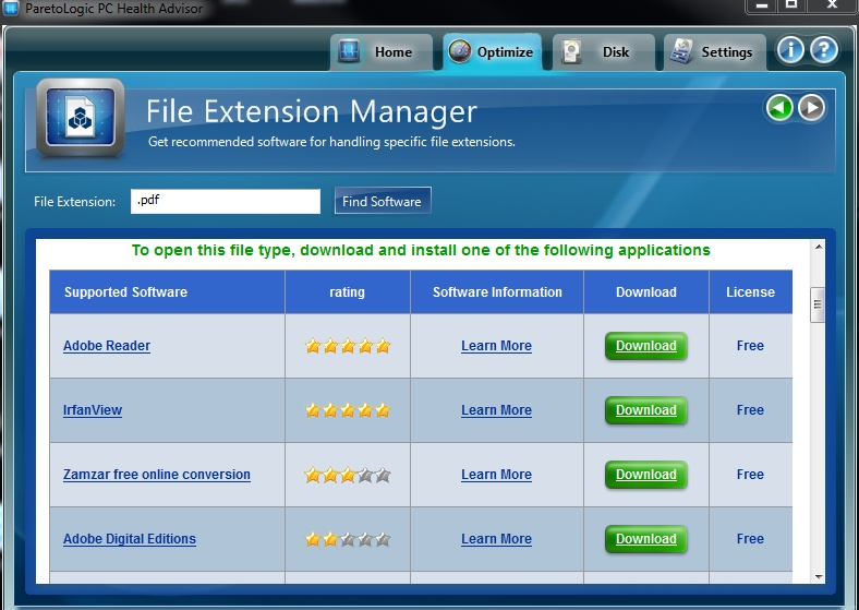 PC Health Advisor File Extention Manager