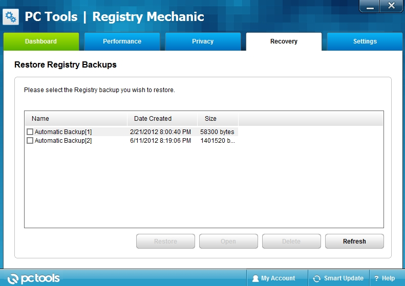 registry mechanic recovery
